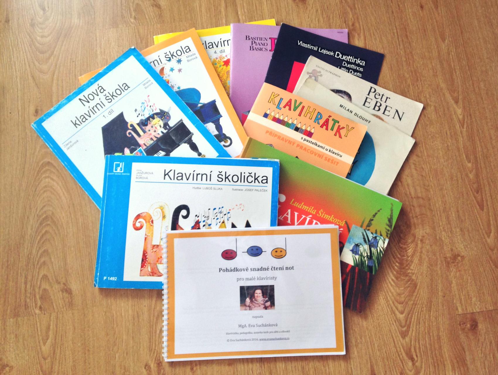 klavírní školy a materiály, které používám ve výuce dětí na klavír